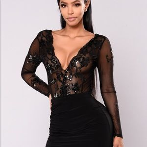 Fashion Nova- Sassy Girl Mesh Bodysuit - Black